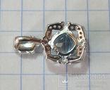 Кулон натуральный голубой топаз и эмаль, фото №7