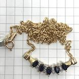 Колье золото бриллианты сапфиры, фото №10