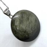 Кулон круглый камень, серебро, фото №2