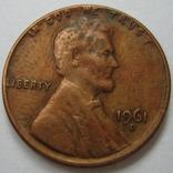 США 1 цент 1961 года.D, фото №2