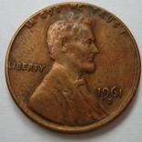США 1 цент 1961 года.D, фото №3