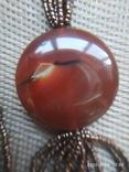 Ожерелье из бисера кулон сердолик, фото №4