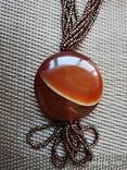 Ожерелье из бисера кулон сердолик, фото №5