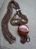 Ожерелье из бисера кулон сердолик, фото №6