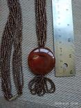 Ожерелье из бисера кулон сердолик, фото №7