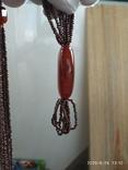Ожерелье из бисера кулон сердолик, фото №8
