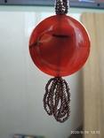 Ожерелье из бисера кулон сердолик, фото №10