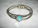 Браслет пружинный (краб) с голубым камнем, фото №2