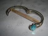 Браслет пружинный (краб) с голубым камнем, фото №4