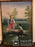 Работа по мотивам картины ''На кладке'' К.Трутовского . Копия., фото №2