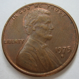 США 1 цент 1975 года.D, фото №2