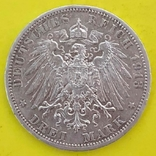 Німецька імперія 3 марки, 1913р. Срібло., фото №3