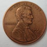 США 1 цент 1998 года.D, фото №2