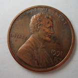 США 1 цент 1991 года.D, фото №2