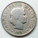 10 раппенов 1883 г. Швейцария, фото №2