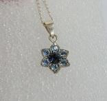 Серебряная цепочка с кулоном в форме цветочка. 925 проба., фото №2