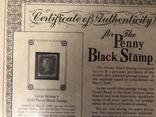 Первая марка мира. Чёрный пенни. 1840 год. С сертификатом и буклетом., фото №5