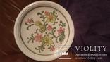 Старинная настенная тарелка с ручной раскрасской, фото №2