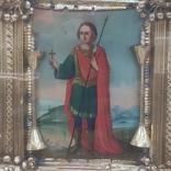 Икона Св.Димитрий Мироточивый. Фигурный киот. 40х44см., фото №2