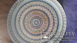 Большая старинная настенная тарелка ручная роспись, фото №3