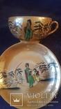 Старинная чашка с блюдцем и тарелкой из тончайшего фарфора Япония, фото №4