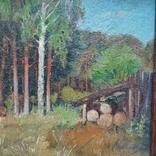 Дровница на опушке леса. Масло, фото №5