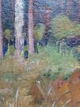 Дровница на опушке леса. Масло, фото №9