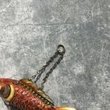 Рыбка, серебряная подвижная подвеска в цветных эмалях,карп кои, старый экспортный Китай, фото №8