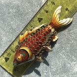 Рыбка, серебряная подвижная подвеска в цветных эмалях,карп кои, старый экспортный Китай, фото №10