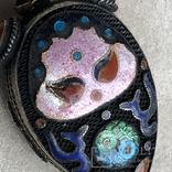 Серебряный кулон/таблетница с эмалями,старый экспортный Китай, фото №7