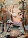 Большая старая картина в раме Зимний пейзаж, фото №6