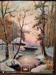 Большая старая картина в раме Зимний пейзаж, фото №7