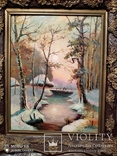 Большая старая картина в раме Зимний пейзаж, фото №8