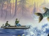 Картина Удачная рыбалка, 50х40 см. Живопись на холсте, фото №5