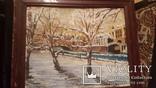 Старинная картина пейзаж,доска,масло, фото №2