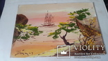 Картина на морскую японскую тему с подписью автора Н.Белоусов, фото №3