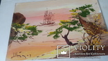 Картина на морскую японскую тему с подписью автора Н.Белоусов, фото №5