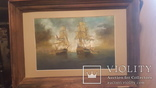 Старая картина в раме Морской бой с подписью автора, фото №2
