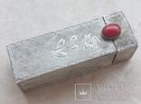 Серебряная помадница с кораллом, фото №2