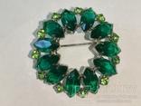 Брошь из СССР с зелёными камнями., фото №4
