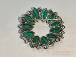 Брошь из СССР с зелёными камнями., фото №9