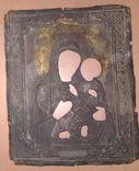 Рельефный латунный оклад на Тихвинскyю иконy Божией Матери 23х19см., фото №2