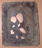 Рельефный латунный оклад на Тихвинскyю иконy Божией Матери 23х19см., фото №3
