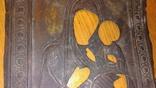 Рельефный латунный оклад на Тихвинскyю иконy Божией Матери 23х19см., фото №6