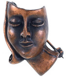 Брошь в виде женского лица,  медь, 60-е годы, США., фото №2