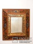 Зеркало - Перу - рамка дерево   роспись по стеклу . золочение- ручная работа - 32 х 28 см, фото №3