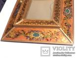 Зеркало - Перу - рамка дерево   роспись по стеклу . золочение- ручная работа - 32 х 28 см, фото №4