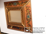Зеркало - Перу - рамка дерево   роспись по стеклу . золочение- ручная работа - 32 х 28 см, фото №5