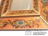 Зеркало - Перу - рамка дерево   роспись по стеклу . золочение- ручная работа - 32 х 28 см, фото №6