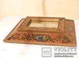 Зеркало - Перу - рамка дерево   роспись по стеклу . золочение- ручная работа - 32 х 28 см, фото №8